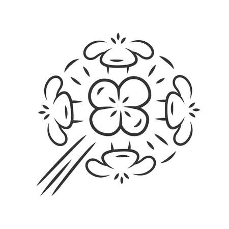 Franciscan wallflower linear icon. Garden flowering plant. Erysimum franciscanum. Blooming wildflower, weed. Spring blossom. Thin line illustration. Contour symbol. Vector isolated outline drawing Ilustração