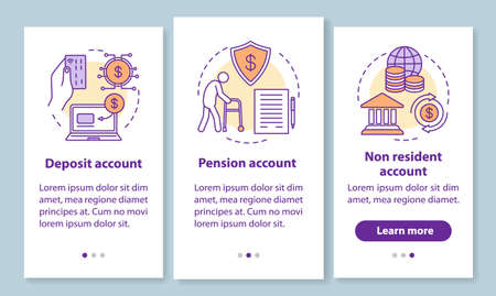 Account types onboarding mobile app page screen with linear concepts. Pension, non resident accounts. Three walkthrough steps graphic instructions. UX, UI, GUI vector template with illustrations