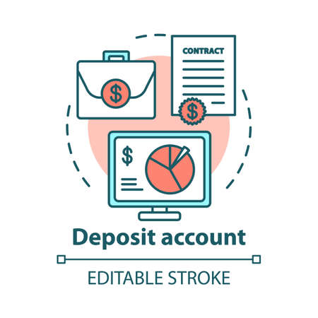 Deposit account concept icon. Savings idea thin line illustration. Banking plan, agreement management. Passive income from investment. Vector isolated outline drawing. Editable stroke