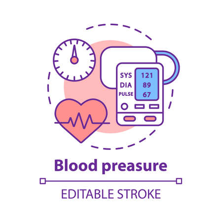 Blood pressure control concept icon. Heart functioning, pulse monitoring idea thin line illustration. Systolic and diastolic pressure rate. Vector isolated outline drawing. Editable stroke