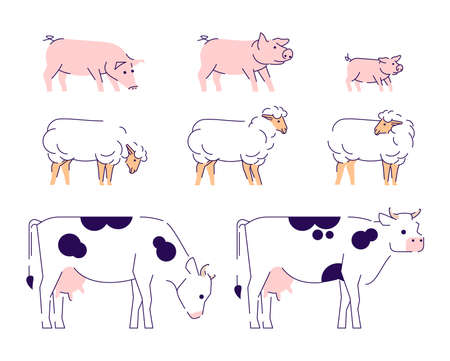 Agricultural animals flat vector illustration. Livestock farming, domestic animals husbandry design elements with outline. Cows, sheeps and pigs side view isolated on white background