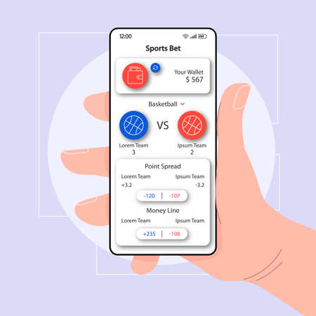 Sports bet planner smartphone interface vector template. Mobile app page white design layout. Point spread screen. Flat UI for application. Hand holding phone with gambler wallet on display