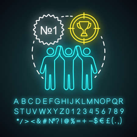 Organization milestones celebrating neon light concept icon. Company goals, aspirations and achievements idea. Best result, champion. Glowing alphabet, numbers, symbols. Vector isolated illustration