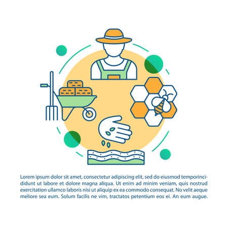 Back to the land article page vector template. Agrarian movement. Brochure, magazine, booklet design element with linear icons and text boxes. Print design. Concept illustrations with text space