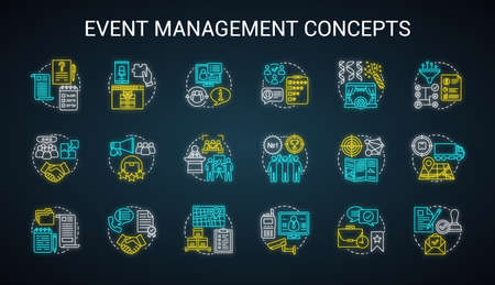 Event management & planning neon light concept icons set. Corporate special event industry idea. Meeting, conference planner, organizer. Glowing alphabet, numbers. Vector isolated illustration