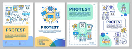 Social protest brochure template layout. Public demonstration flyer, booklet, leaflet print design with linear illustrations. Vector page layouts for magazines, annual reports, advertising posters