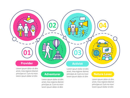 Lifestyle types vector infographic template. Activist. Business presentation design elements. Data visualization with four steps and options. Process timeline chart. Workflow layout with linear icons