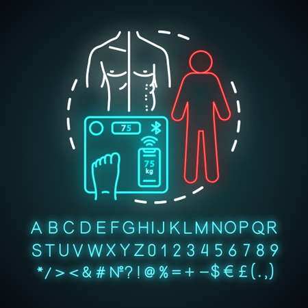Obesity problem neon light concept icon. Measuring body weight with electronic scales idea. Fit vs fat person. Glowing sign with alphabet, numbers and symbols. Vector isolated illustration  イラスト・ベクター素材