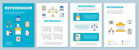 Referendum brochure template layout. Popular vote. Flyer, booklet, leaflet print design, linear illustrations. Citizens ballot. Vector page layouts for magazines, annual reports, advertising posters