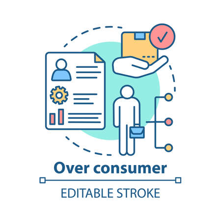 Over consumer concept icon. Increasing goods consumption idea thin line illustration. Buying products. Promotion of customers interests. Vector isolated outline drawing. Editable stroke