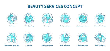Beauty services blue concept icons set. Beauty salon, SPA face skin care procedures idea thin line illustrations. Hairdressing and makeup. Vector isolated outline drawings. Editable stroke