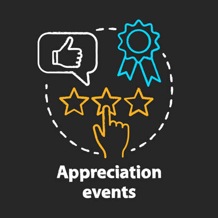 Appreciation events chalk concept icon. Customer experience idea. Feedback collecting. Clients reviews. Service awards, rating. Vector isolated chalkboard illustration Stock Vector - 129261514