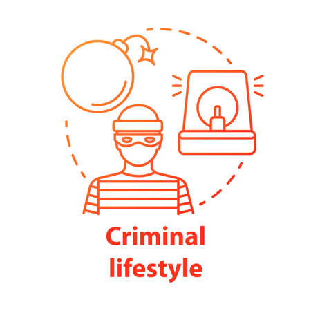 Criminal lifestyle red concept icon. Committing crime idea thin line illustration. Terrorist with bomb. Robber, housebreaker. Terrorism attack. Vector isolated outline drawing. Editable stroke Ilustração