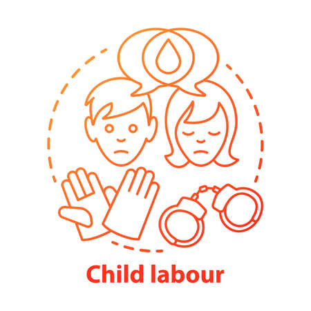 Child labour concept icon. Children exploitation & labor idea thin line illustration. Illegal child work and employment. Kids abuse, maltreatment problem. Vector isolated drawing Illustration
