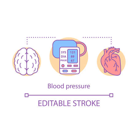 Blood pressure measuring concept icon. Brain, heart functioning monitoring idea thin line illustration. Systolic and diastolic pressure rate. Vector isolated outline drawing. Editable stroke Reklamní fotografie - 129261532