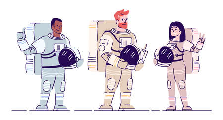 Astronauts in spacesuits flat vector illustration. International cosmonauts team standing and holding helmets isolated cartoon character on white background. Crew members, space travel