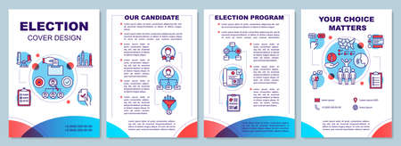Election brochure template layout. Candidate and voting program. Flyer, booklet, leaflet print design, linear illustrations. Vector page layouts for magazines, annual reports, advertising posters