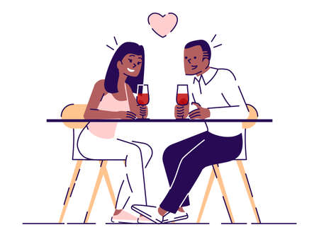 Romance evening flat vector illustrations. Young couple drinking wine in cafe, restaurant, Boy, girl chatting, flirting isolated cartoon characters with outline elements on white background