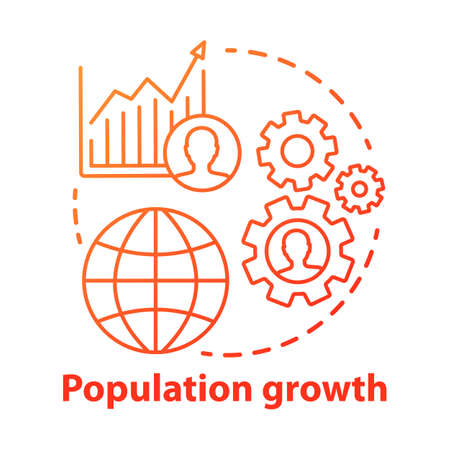 Population growth concept icon. World human overpopulation idea thin line illustration. Increasing number of people. Demographic problem. Vector isolated outline drawing Illusztráció