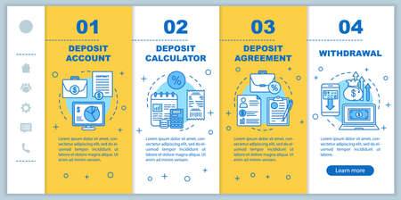 Deposit onboarding mobile web pages vector template. Banking service. Responsive smartphone website interface idea with linear illustrations. Webpage walkthrough step screens. Color concept Ilustracja