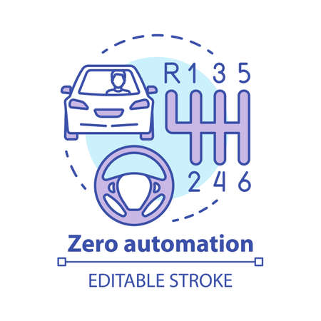 Zero automation concept icon. Car with manual transmission. Vehicle, gearbox, steering wheel. Driving school idea thin line illustration. Vector isolated outline drawing. Editable stroke Ilustracja