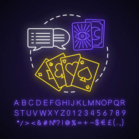 Tarot reading neon light concept icon. Fortune telling, divination idea. Glowing sign with alphabet, numbers and symbols. Speech bubbles, playing and clairvoyant cards vector isolated illustration