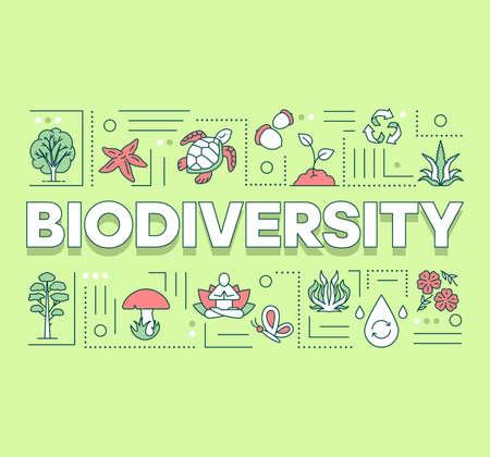 Bandera de conceptos de palabra de biodiversidad. Reserva forestal. Mantenimiento del ecosistema. Vida submarina. Presentación, sitio web. Idea de tipografía de letras aisladas con iconos lineales. Ilustración de contorno vectorial Ilustración de vector