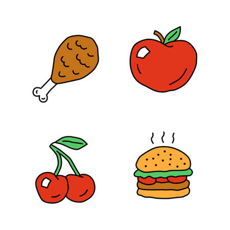 Healthy and harmful nutrition doodle color icons set. Chicken leg, ripe apple, cherry and burger hand drawn isolated vector illustrations. Junk food and organic snacks, natural and unhealthy eating Ilustracja