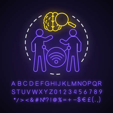 Telepathy neon light concept icon. Mind reading, thought transference idea. Glowing sign with alphabet, numbers and symbols. Brain with magnifying glass and people vector isolated illustration 写真素材 - 129261773