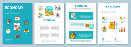 Economy brochure template layout. Manufacturing and merchandising. Flyer, booklet print design with linear illustrations. Vector page layouts for magazines, annual reports, advertising posters