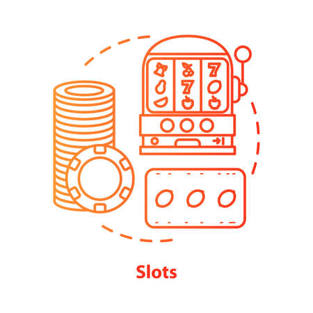 Slots concept icon. One armed bandit, slot machine idea thin line illustration. Online gambling. Lucky seven, fruit spins. Roulette. Vector isolated outline drawing Imagens - 129261864