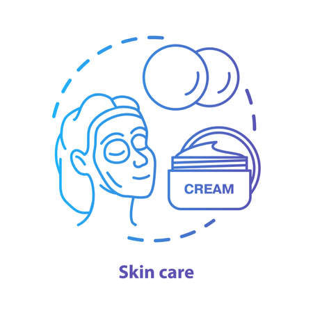 Skin care blue concept icon. Cosmetology salon, SPA procedures idea thin line illustration. Skincare products. Moisturising cream. Blue gradient vector isolated outline drawing. Editable stroke