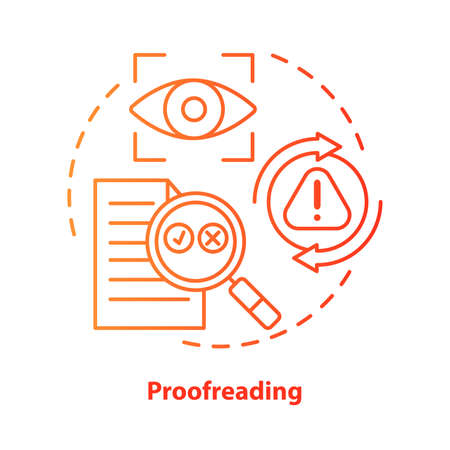 Proofreading red concept icon. Text editing, correction process idea thin line illustration. Checking grammar, punctuation. Copyediting written work. Vector isolated outline drawing. Editable stroke 일러스트