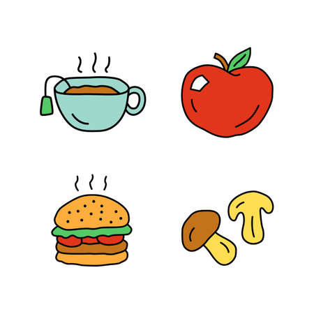 Delicious lunch doodle color icons set. Hot tea, ripe apple, burger and mushrooms hand drawn isolated vector illustrations. Tasty breakfast, fast food and drink. Healthy and harmful nutrition