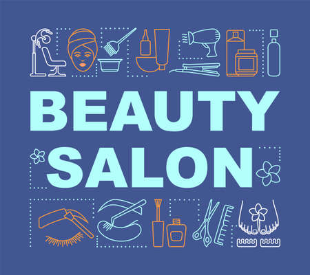 Beauty salon word concepts banner. Beauty service. Hairdressing and cosmetology. Spa therapy. Presentation, website. Isolated lettering typography idea, linear icons. Vector outline illustration  イラスト・ベクター素材