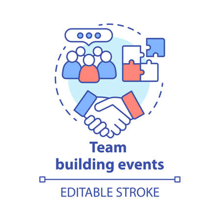 Team building event concept icon. Corporate collaboration activities idea thin line illustration. Teamwork and successful partnership. Employees cooperation. Vector isolated drawing. Editable stroke