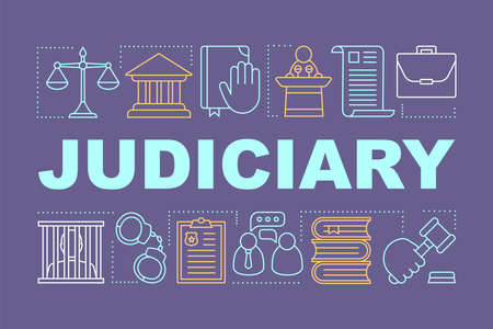 Judiciary word concepts banner. Judicial system. Criminal court. Presentation, website. Offender punishment. Isolated lettering typography idea with linear icons. Vector outline illustration Illusztráció