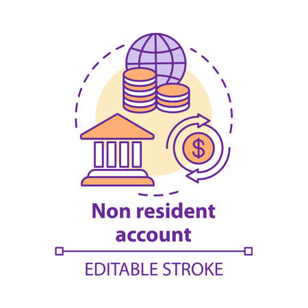 Savings concept icon. Non resident account idea thin line illustration. Banking plan, agreement for foreigners. Keeping savings abroad. Vector isolated outline drawing. Editable stroke
