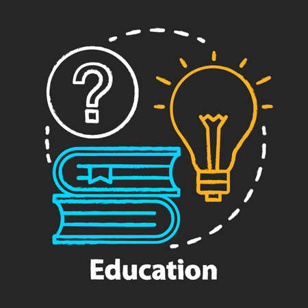 Education chalk concept icon. Knowledge and wisdom idea. Reading books, solutions, answers search. Learning and studying. Vector isolated chalkboard illustration Иллюстрация