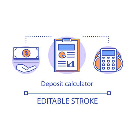 Deposit calculator concept icon. Savings idea thin line illustration. Accounting tool. Counting profits, interest rate, percentage. Vector isolated outline drawing. Editable stroke