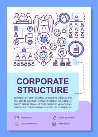 Corporate structure poster template layout. Workplace relationships and environment. Banner, booklet, leaflet print design with linear icons. Vector brochure page layouts for magazines, flyers