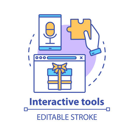Interactive tool concept icon. Customer engaging media content, bonuses. Marketing tool idea thin line illustration. Engagement increasing. Vector isolated outline drawing. Editable stroke Stockfoto - 129261998