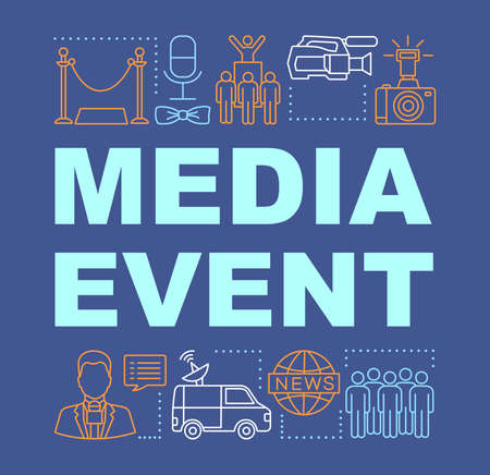 Media event word concepts banner. Video shooting. Mass media. Breaking news. Event agency. Presentation, website. Isolated lettering typography idea with linear icons. Vector outline illustration