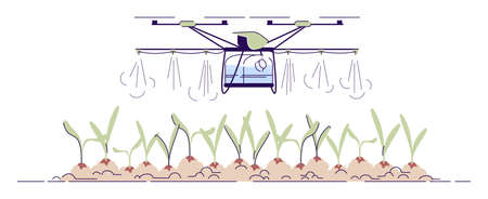 Agricultural irrigation drone flat vector illustration. Cartoon crop sprayer, fertilizer quadcopter with outline. Automated sprinkler copter. Farming spraying UAV isolated element on white background