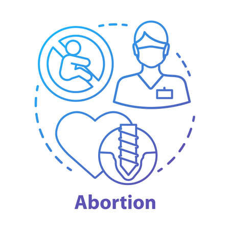 Medical abortion concept icon. Miscarriage idea thin line illustration. Infertility problem. Pregnancy loss. Fetal death. Pregnancy termination. Vector isolated outline drawing
