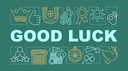 Good luck word concepts banner. Fortune. Gambling, games of chance. Jackpot, win and success. Presentation, website. Isolated lettering typography idea with linear icons. Vector outline illustration Иллюстрация