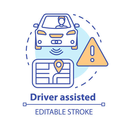 Driver assisted concept icon. Car intelligent features for safety and comfort. Sensory information to navigation paths idea thin line illustration. Vector isolated outline drawing. Editable stroke