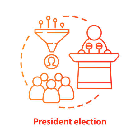 President election concept icon. Public speech idea thin line illustration. Choosing head of state. National voting day, electing new country leader. Vector isolated outline drawing. Editable stroke Illusztráció