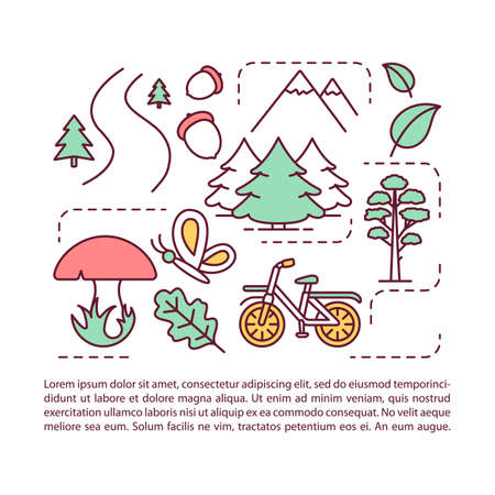 National park article page vector template. Recreational urban place. Brochure, magazine, booklet design element with linear icons and text boxes. Print design. Concept illustrations with text space