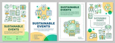Disposition du modèle de brochure de gestion d'événements durables. L'écologisation de l'événement. Flyer, livret, dépliant imprimé avec illustrations linéaires. Mises en page vectorielles pour magazines, rapports annuels, affiches publicitaires
